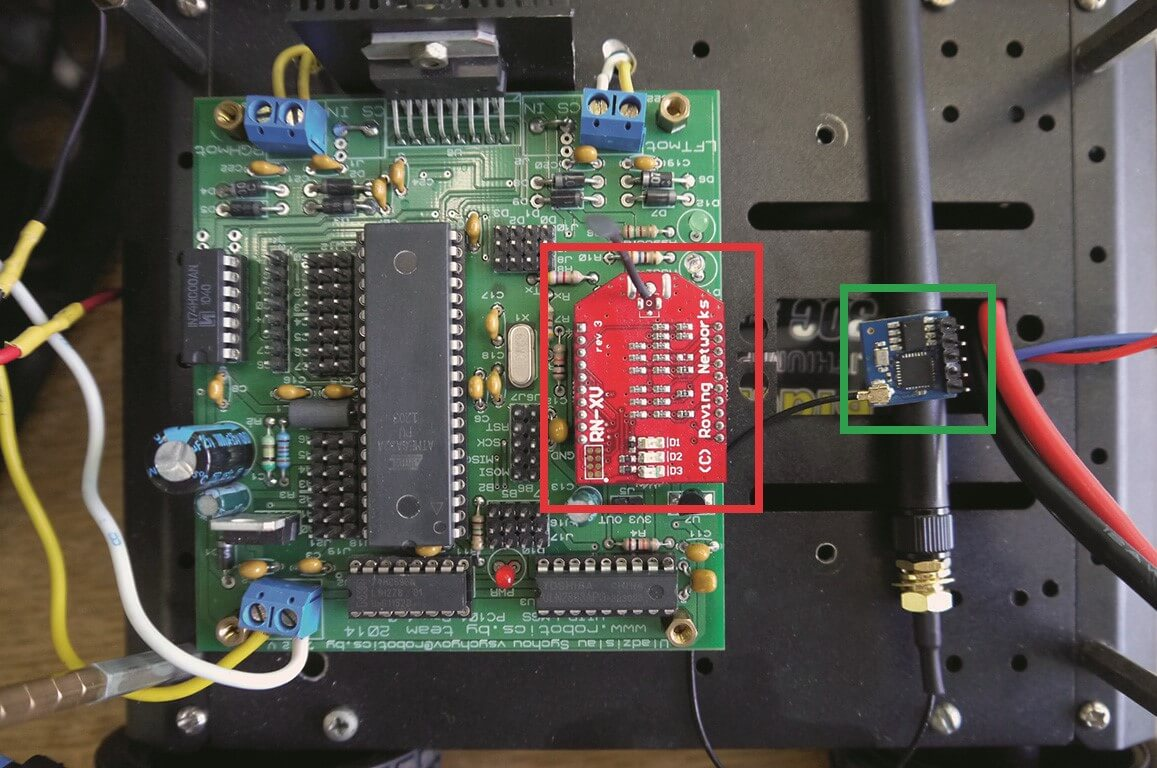 Completely new IoT hardware ESP8266 ESP-05 with antenna (green small square) and old IoT hardware WiFly RN-XV 171 (red big square) placed in low level robot control system (Color figure online)