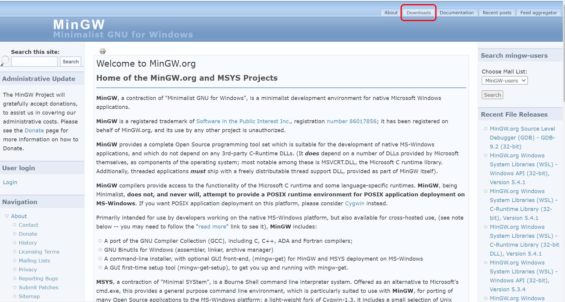 Сайт MinGW
