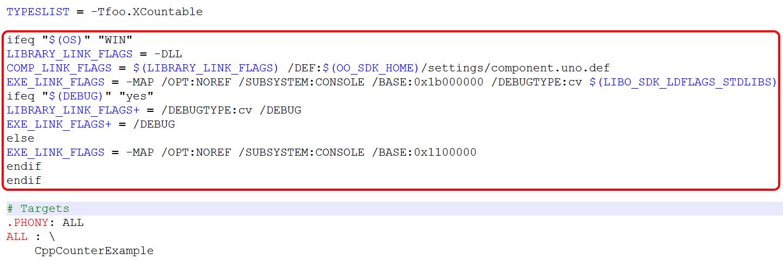 Изменение в Makefile примера