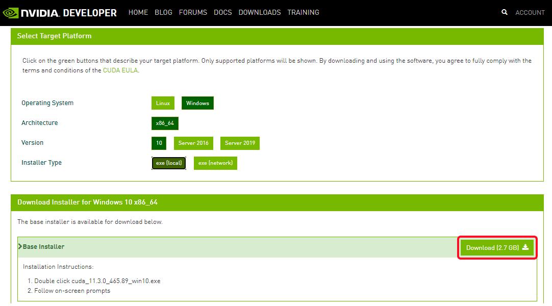 Выбор типа инсталляционного пакета CUDA Toolkit