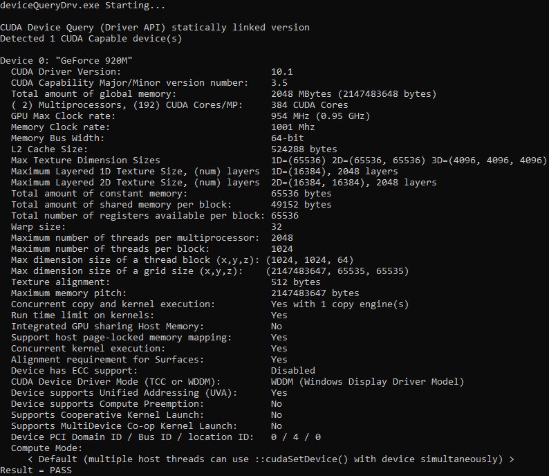 Пример запуска скомпилированного файла deviceQueryDrv.exe