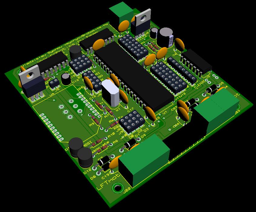 Рендер платы управления нижнего уровня формата PC/104 для встраиваемых систем и роботов