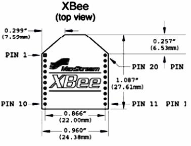 Корпус XBee PRO Series 2 (вид сверху)