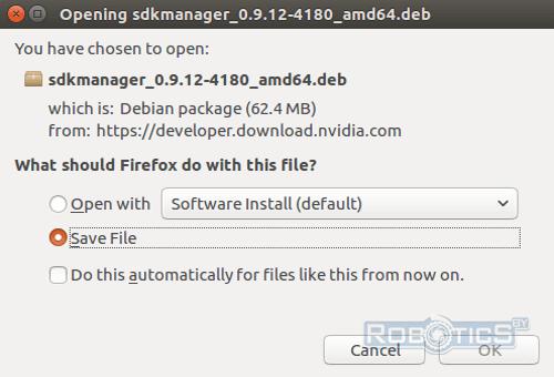 Скачивание пакета установки NVIDIA SDK Manager в Linux Ubuntu 16.04