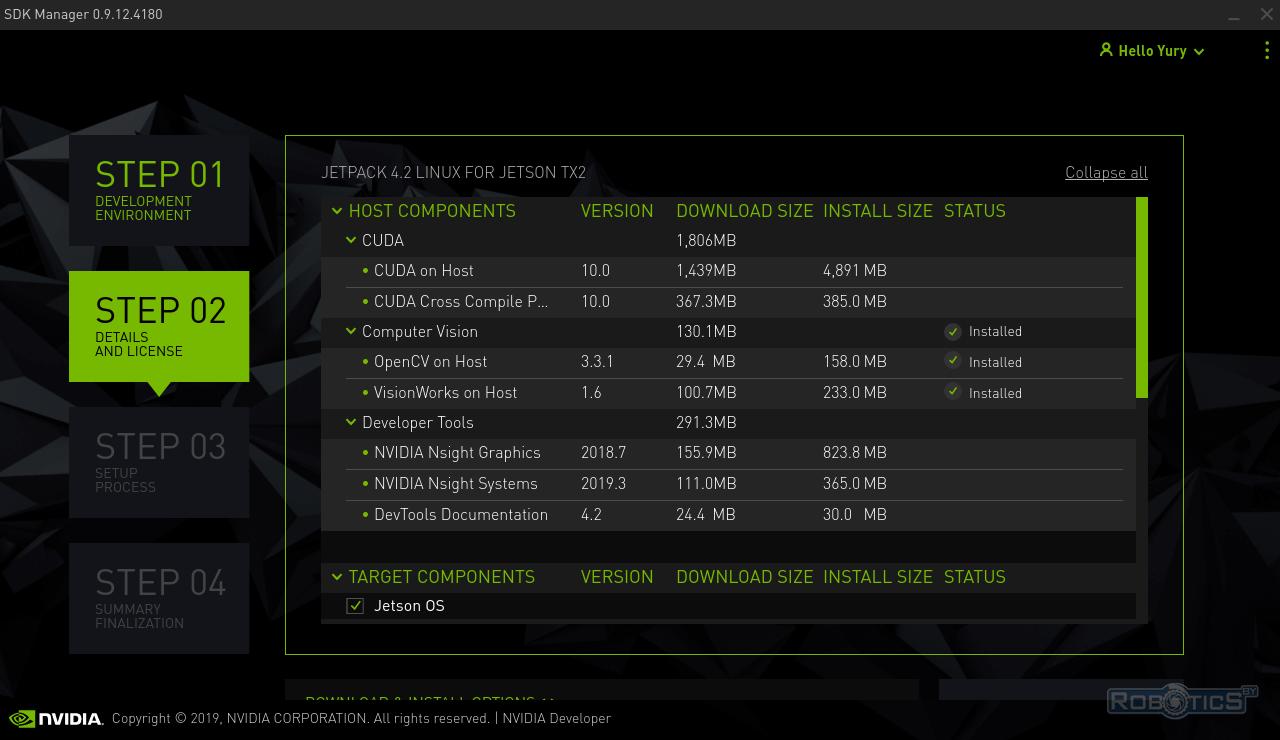 Список компонентов, устанавливаемых на JetPack 4.2 на хостовую машину