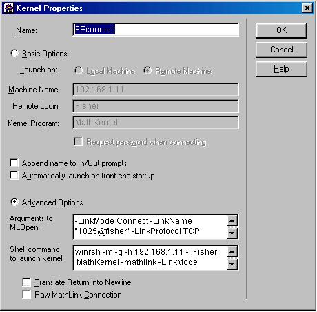 Пример заполнения окна Kernel Properties