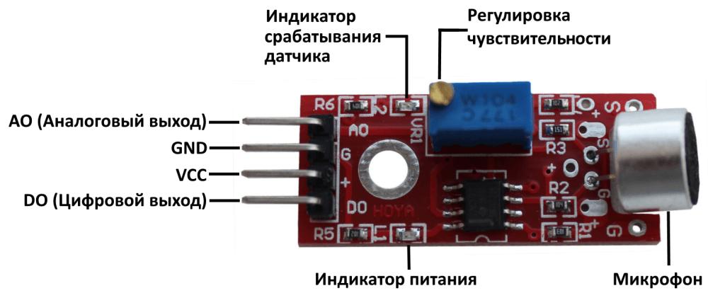 Распиновка большого микрофонного модуля Arduino.