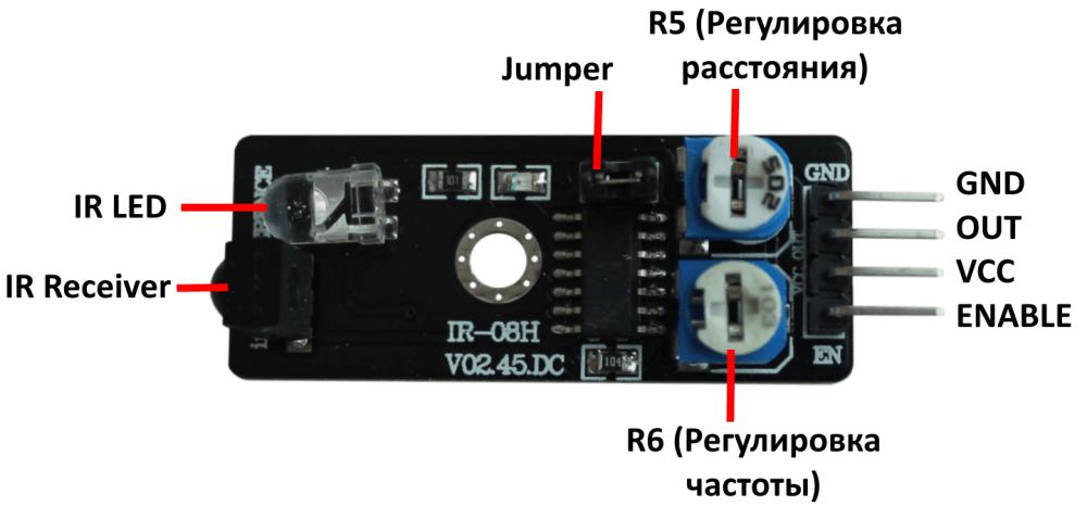 Распиновка инфракрасного датчика обнаружения препятствий Arduino.