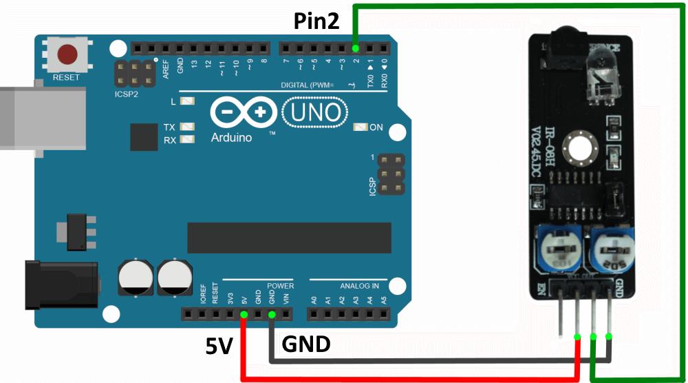 Подключение инфракрасного датчика обнаружения препятствий к Arduino UNO.