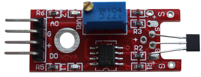 Линейный магнитный датчик Холла Arduino. Вид сверху.
