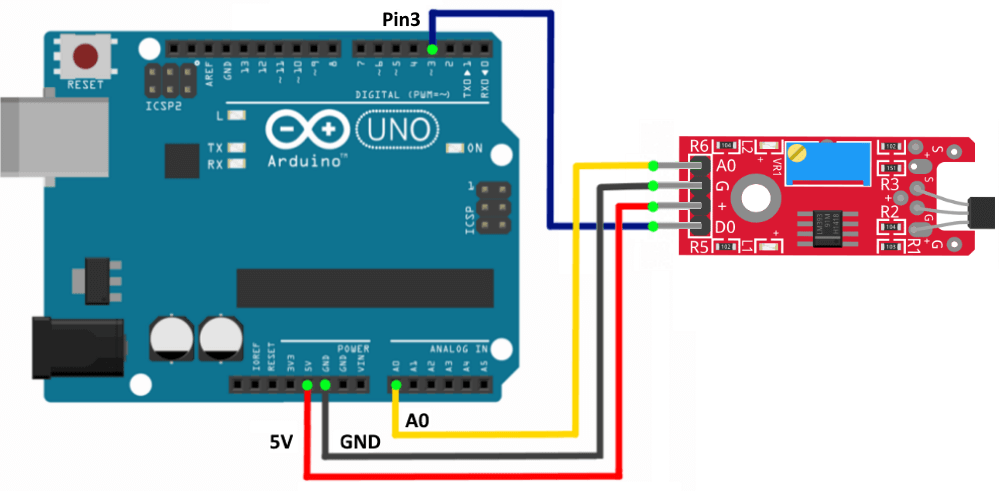 Подключение линейного магнитного датчика Холла к Arduino UNO.