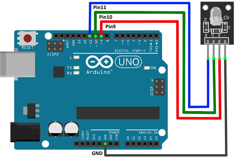 Подключение модуля трехцветного RGB светодиода к Arduino UNO.