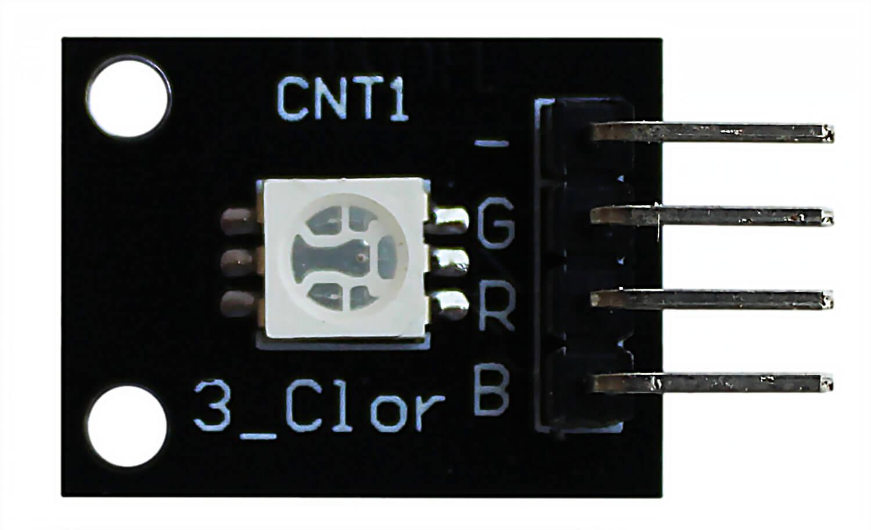 Модуль трехцветного SMD RGB светодиода Arduino. Вид сверху.