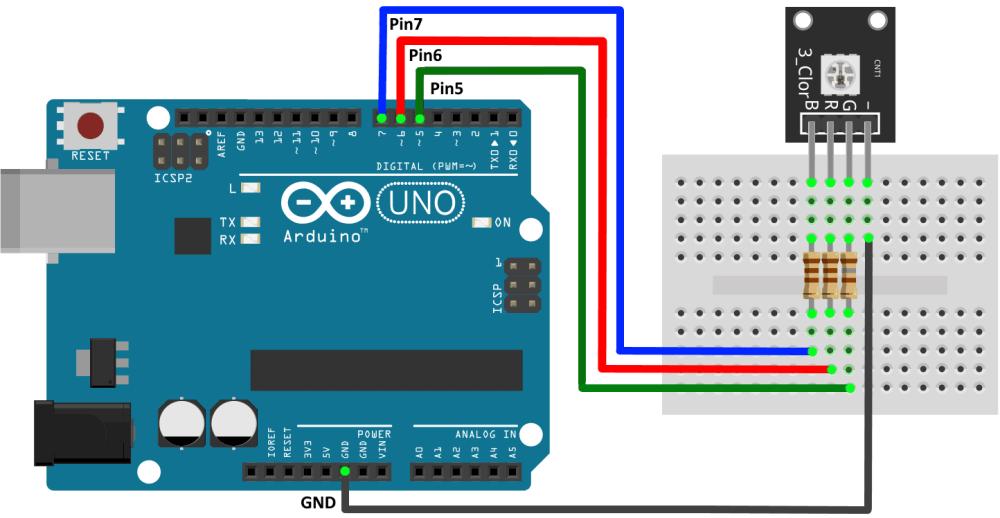 Подключение модуля трехцветного SMD RGB светодиода к Arduino UNO.