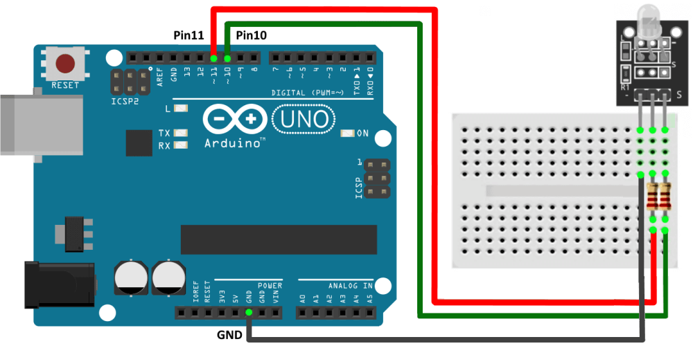 Подключение модуля двухцветного светодиода к Arduino UNO.