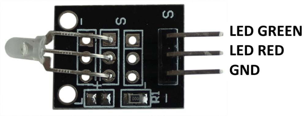 Распиновка модуля двухцветного светодиода Arduino.