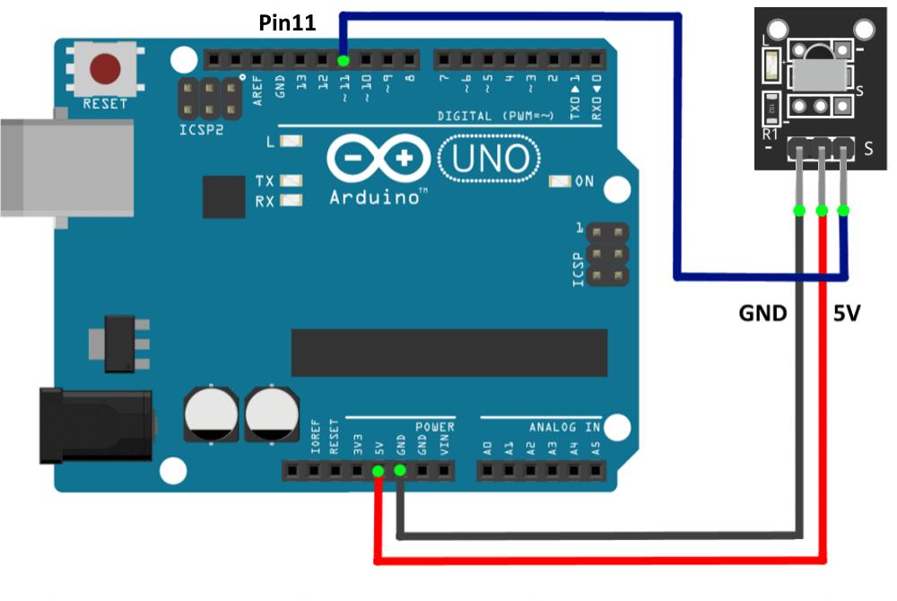 Подключение модуля ИК приемника к Arduino UNO.