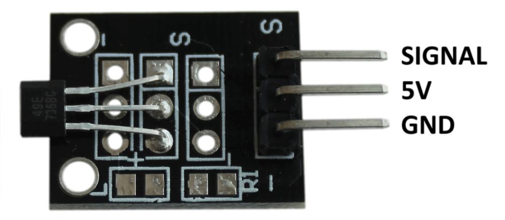 Распиновка аналогового магнитного датчика Холла Arduino.