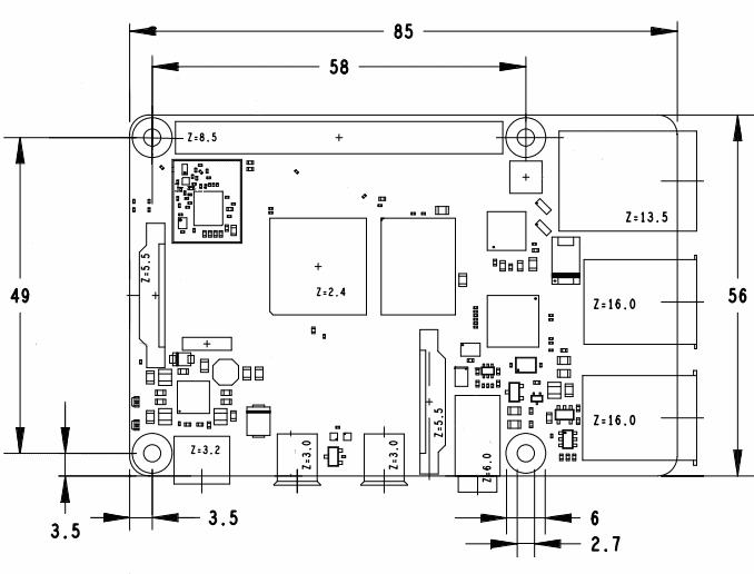 Геометрические размеры  Raspberry Pi 4.