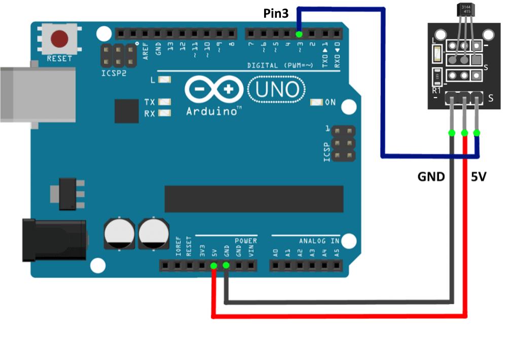 Подключение цифрового магнитного датчика Холла к Arduino UNO.