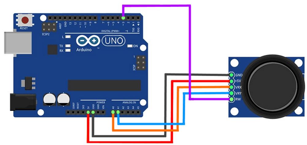 Подключение модуля джойстика к Arduino UNO.
