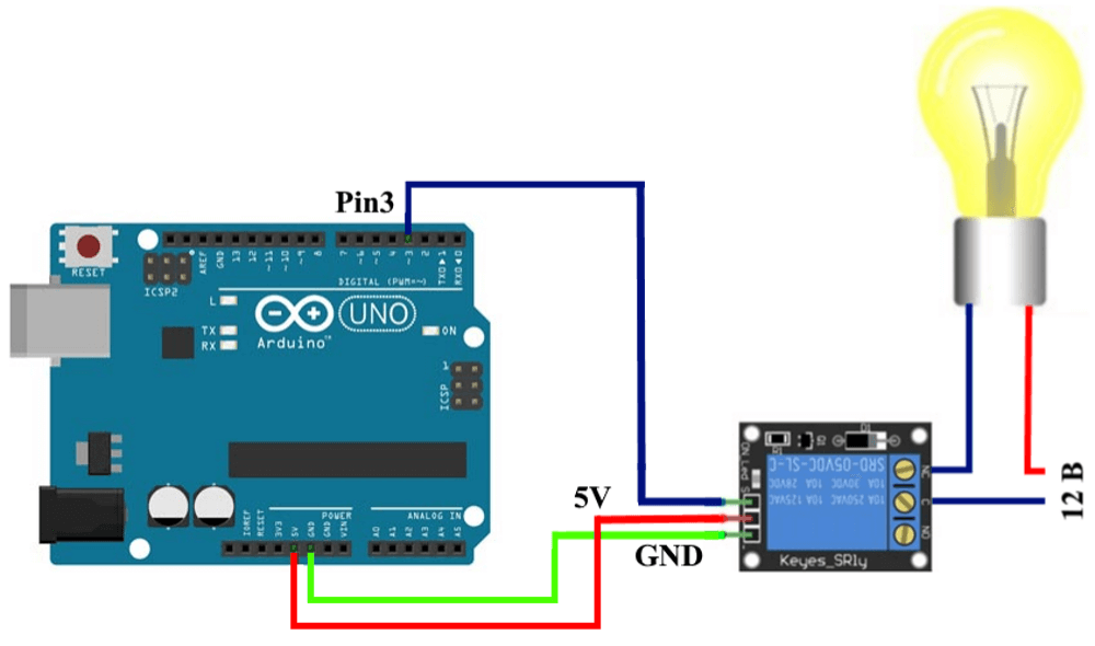 Подключение прибора (лампы накаливания) c помощью модуля реле к Arduino UNO.